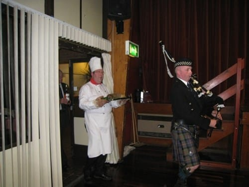 Piping in the haggis at an earlier Burns Night.