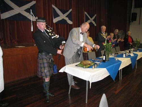 Getting ready to toast the haggis at an earlier Burns Night.