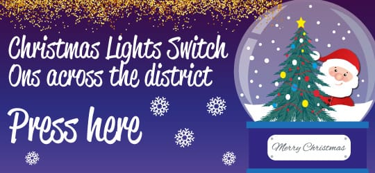 A promotional image for Christmas lights switch ons