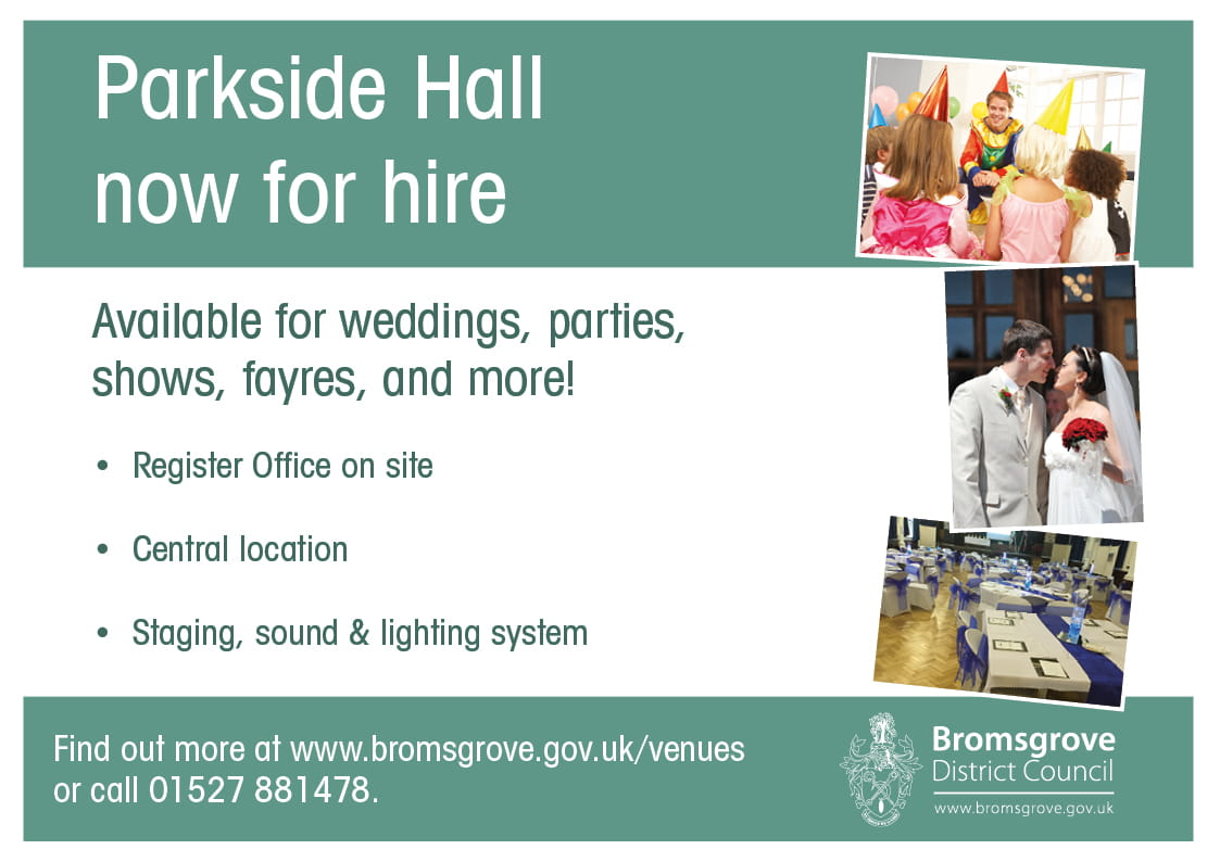 A promotional image for room hire at Parkside
