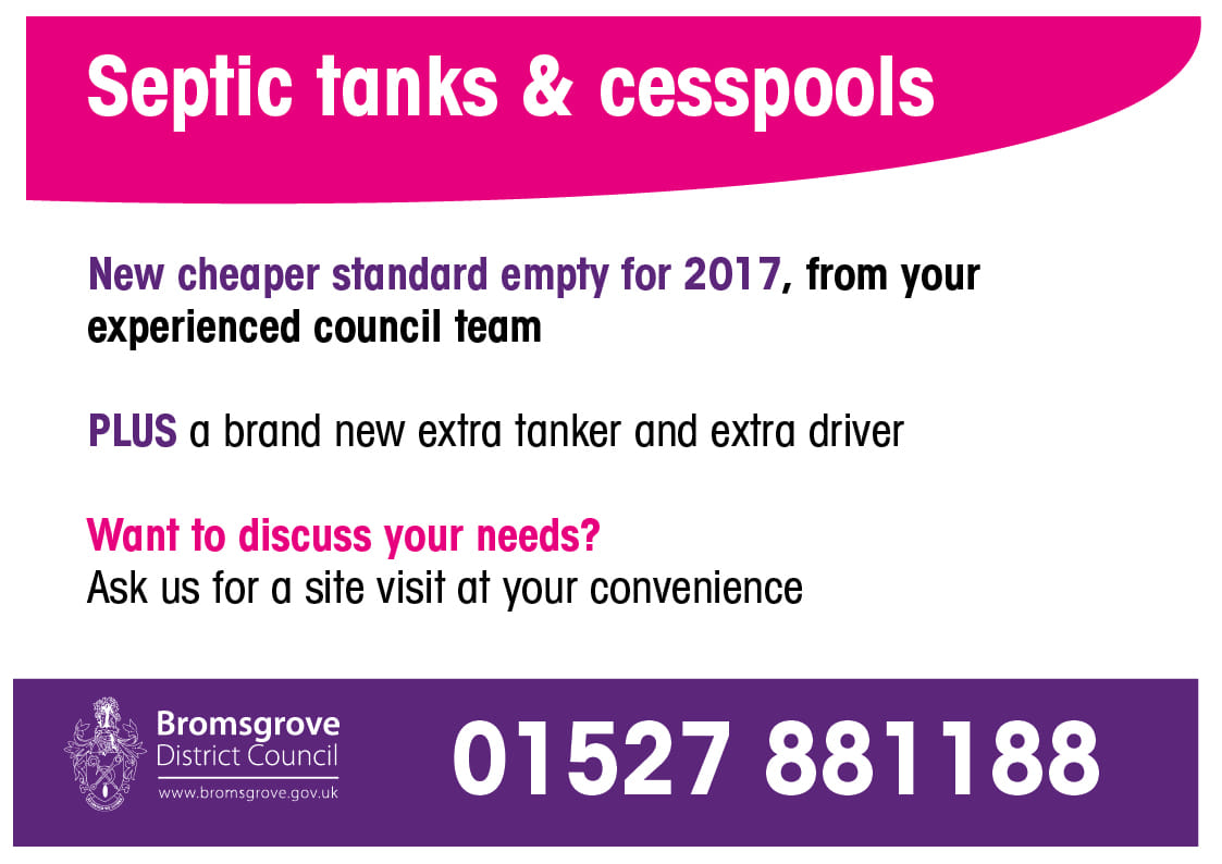 A promotional image for septic tank and cesspool services