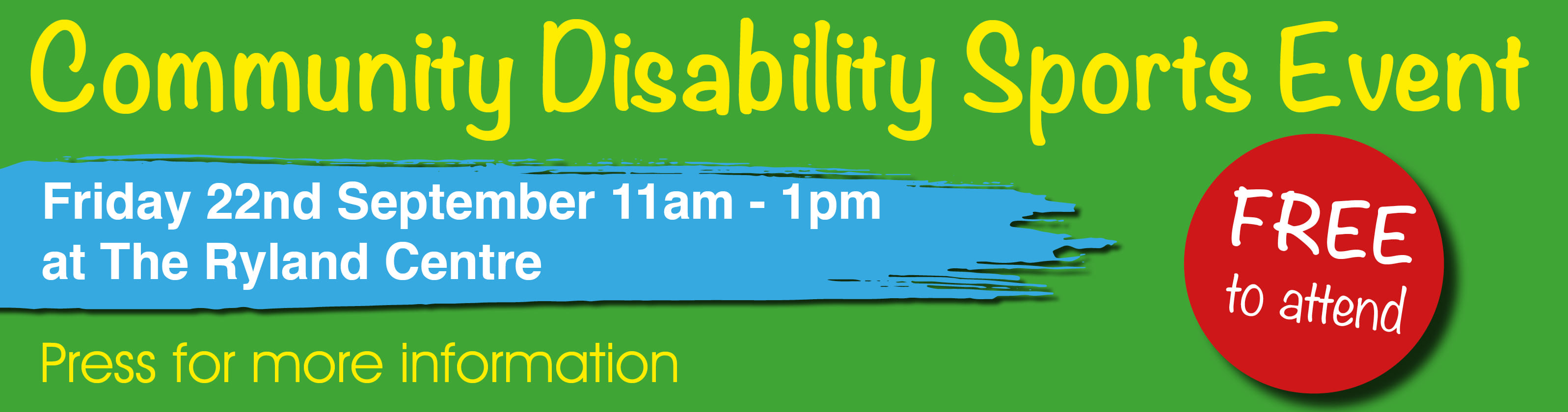 A promotional banner for a free disability sports event